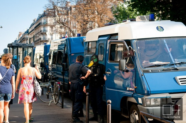 Gendarme mobile at Paris Rom Pride