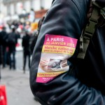 Sticker of the demonstration on a jacket